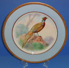ANTIQUE EPIAG PORCELAIN PLATE HAND PAINTED GOLD PHEASANT SIGNED GERMANY c 1910