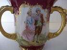 Rare J.P.L. France 1905 hand painted three handled courting couples loving cup