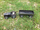 Vintage Tin Toy GAMA Tractor and Trailer wooden wheels German DRP WindUp 30's