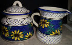 Hand Painted Yellow Sunflower Ceramic Sugar Bowl Cream Pitcher Tracy Townsley TT