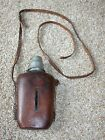 Vintage Antique Glass Flask with Leather Cover and Strap German Water Bottle