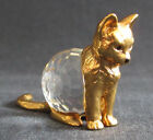 Vintage Cut Crystal & Goldtone Metal Cat Figurine Swarovski ?