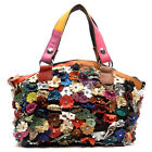 Genuine Leather Multi-Color Flower Butterfly Tote Satchel Patchwork Handbag