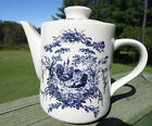 CLASSIC CERAMICS CALIFORNIA PANTRY TEAPOT W/ CHICKEN & ROOSTER BLUE WHITE 2002