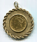 1906-D $5 Liberty Head Half Eagle Gold Coin In a 9.1 G 14kt Gold Bezel
