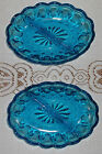 2 VINTAGE LASER BLUE ANCHOR HOCKING FAIRFIELD 2 PART RELISH DISH BOWL BOWLS
