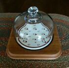 Vintage Cheese Keeper Plate by Goodwood. Ceramic & Teak Wood, Glass Dome Cover.