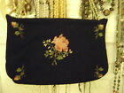 Rare 1940's Antique Embroidered  Black and Floral Purse Handbag