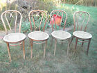 Set 4 Antique Bentwood Cane Seat Cafe Bistro Side Chairs Thonet Made in Poland