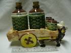 Vintage Ceramic Donkey Burro Cart Salt Pepper Oil & Vinegar Set Japan