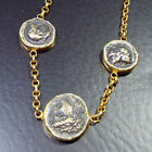 Handmade Ancient Style Roman Coin Bracelet 22K Gold  Over 925K Sterling Silver