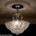 507 Vintage 30s 40s Ceiling Light Lamp Fixture Chandelier Re-Wired blue