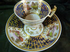 ANTIQUE RIDGWAY  CUP AND SAUCER COBALT h.p. SCENES  EXTREME GILT ~FAB~c1825