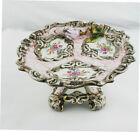 Italian Majolica Biscuit Cookie tray plate center piece table flower cake stand