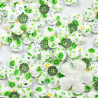 Lots 10pcs Padded Felt Green Flower Rhinestone Appliques Cloth Applique