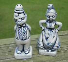 Vtg Happy / Angry Mad Woman & Man 2 Sided Salt & Pepper Shakers Antiqued Blue
