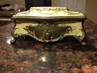 VTG SWISS LADOR MUSIC JEWELRY BOX BRONZE/BRASS SPELTER METAL Blue Velvet Lining