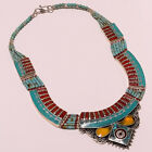 925 Tibetan SILVER SLEEPY BEAUTY TURQUOISE,CORAL,INLAY SQUASH BLOSSOM NECKLACES