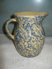 R.R.P. Co. Roseville OH Blue Spongeware Stoneware Pitcher USA Approx. 5