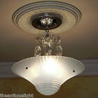 259 Vintage 40's Ceiling Light Lamp Fixture Glass Fixture Chandelier Re-Wired