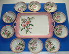 ANTIQUE HAVILAND LIMOGES BOWLS TRAY HAND PAINTED VICTORIAN PORCELAIN FRANCE 1879