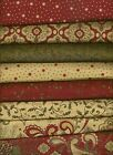 Moda Sandy Gervais Christmas Cotton Quilt Fabric Pine Fresh (8) 1/2 yd cuts NEW!