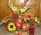 Burgundy Orange Silk Flower Pumpkin Table Fall Arrangement Poppies Centerpiece