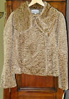 ELLIOTT LAUREN Light Brown Faux-Fur CURLY LAMB Shiny  Size 8  COAT Jacket Lined