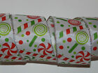 25 ft White Red Green Candy Glitter Wired Ribbon Bow Dot Christmas Xmas Holiday