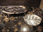 VIKING SILVERPLATED FOOTED FISH TRAY CANADA & SILVERPLATED LEAF TRAY GERMANY