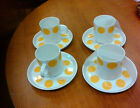 6 Demi Cup w/Saucers from Portugal SPAL Yellow and White Porcelain