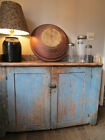 19th C Early Antique Old Dry Sink Original Worn Blue Paint
