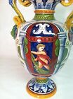 Italian Magolica semi-antique or antique ceramic vase