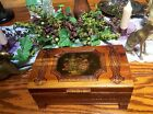 ANTIQUE VINTAGE WOODEN CEDAR BOX ORNATELY CARVED WITH PAINTING DOMED LID FOOTED