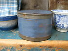 Small Early Antique Wood and Tin Pantry Box Blue Milk Paint