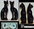 "PAIR CATS 11"" Mirror Finish Black Glazed Ceramic Mid Century Streamlined"