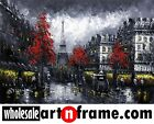 Paris Street Scene Red Tree Modern Blk & Wht Cityscape Painting 24x36 STRETCHED