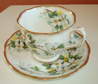 Royal Albert bone china England White Dogwood cup and saucer brushed gold trim