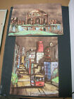 2 Signed Gill Vintage San Francisco City Painting Cable Car Not Hawaii Hawaiian