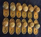 6 pairs of Antique Cast  Door knobs and back plates, Yale ?,