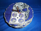 222 FIFTH PTS International 4 Appetizer Side Plates Wiccan Lace Purple Halloween