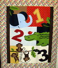 Jungle 123 quilt top or wall hanging panel - monkeys elephant crocodile numbers