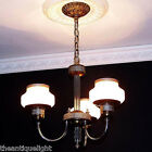 332 GILL GLASS 30's-40's  CHROME - BRASS CEILING Lamp LIGHT  CHANDELIER