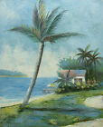 Oil Painting of Seascape Palm Trees House by Sea Beach Scene 8x10