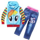 New 3-8 Years Girls My little Pony Outfits Sets Hoodies Coat Jacket+Jeans Pants