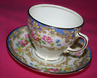 Old Royal Bone China Tea Cup & Saucer Pink & Blue Flowers Gold Trim #2589 nr mnt