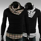 Korean Men Fashion Slim Fit Grid Stripe Cardigan High Collar Turtleneck Sweaters