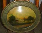 LG ANTIQUE ORNATE Gold Gesso GILT OVAL dome PICTURE FRAME with Farm House
