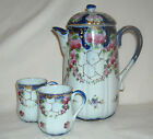 Antique Vintage Hand Painted Coffee Pot with Two Cups Beautifully Colored