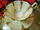 QUEEN ANNE TEA CUP AND SAUCER GOLD LACE  WHITE GOLD GILT DETAIL FLARED AVON
